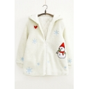 Cartoon Snowman Embroidered Long Sleeve Hooded Zip Up Fur Coat