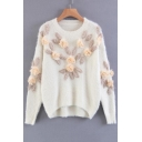 Fashion Floral Embellished Round Neck Long Sleeve Dipped Hem Sweater