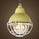 Cage Style Bowl Shape Single Light LED Mini Hanging Pendant in Cream