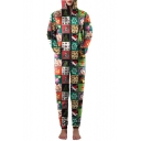 New Collection Christmas Printed Hooded Long Sleeve Zip Up Casual Jumpsuits
