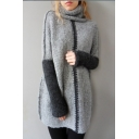 Hot Fashion Turtle Neck Long Sleeve Color Block Comfort Tunic Sweater