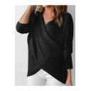 V-Neck Crisscross Front Long Sleeve Plain Pullover Sweater