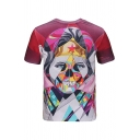New Stylish 3D Colorful Character Pattern Short Sleeve Round Neck T-Shirt
