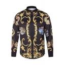 New Stylish Street Style Fashion Printed Lapel Collar Long Sleeve Shirt