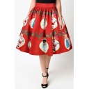 New Collection 3D Christmas Santa Claus Pattern Midi Flared Skirt