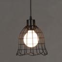 Industrial Hanging Pendant Light with Vintage Flower Metal Cage Frame in Black for Indoor Lighting