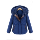 New Arrival Color Block Winter's Warm Hooded Long Sleeve Zip Up Coat