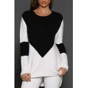 New Arrival Chic Color Block Round Neck Long Sleeve Dipped Hem Tunic Sweater