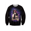New Arrival Fashion 3D Masquerade Skull Girl Pattern Round Neck Long Sleeve Sweatshirt