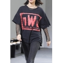 Loose Leisure Fashion Letter Pattern Round Neck Short Sleeve T-Shirt