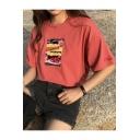Summer's Leisure Casual Fashion Pattern Short Sleeve Round Neck T-Shirt