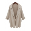 Fashion Notched Lapel Collar Long Sleeve Plain Cardigan with Single Button