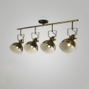 Industrial 4 Light Semi Flushmount Ceiling Light with Bowl Shade, Bronze