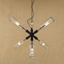 Industrial Multi Light Pendant Light 6 Light Pipe Fixture Arm with Clear Glass Bottle Lampshade