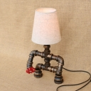 Industrial Table Lamp with Fabric Lampshade Creative Pipe Design Fixture Body, Valve Decoration