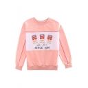 Basic Simple Round Neck Long Sleeve Fashion Pattern Pullover Sweatshirt