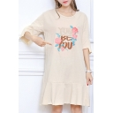 Fashion Letter Floral Pattern Half Sleeve Round Neck Ruffle Hem Midi Loose Dress