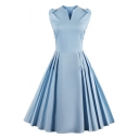 Basic Simple Plain V Neck Sleeveless Vintage Pleated Midi Flared Dress