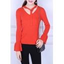 Basic Simple Plain Long Sleeve Flared Cuff V Neck Slim Comfort Sweater
