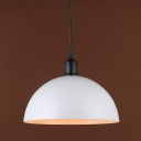 Industrial Hanging Pendant Light in White with Bowl Shade for Indoor Lighting