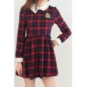 Fashion Classic Plaids Pattern Long Sleeve Collared Mini A-Line Dress