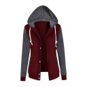 Fashion Color Block Hooded Long Sleeve Single Breasted Comfort Coat