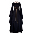 Hot Popular Chic Square Neck Long Sleeve Plain Maxi A-Line Dress