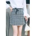 High Waist Classic Plaids Pattern Basic Mini A-Line Woolen Skirt