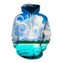 New Arrival Digital Fish Pattern Long Sleeve Leisure Sports Hoodie