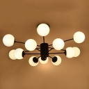 Industrial Chandelier 12 Light 41 Inch Wide with Globe Opal Glass Shade in Black