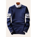 Color Block Striped Pattern Round Neck Long Sleeve Cotton Comfort Sweatshirt