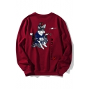 New Arrival Fashion Cartoon Cat Pattern Round Neck Long Sleeve Sweatshirt