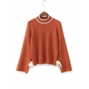Fashion Color Block Bow Tied Side Mock Neck Long Sleeve Pullover Sweater