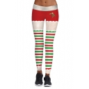 Christmas Theme Fashion Striped Printed Elastic Waist Skinny Leggings