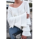 Comfort Cozy Loose Oversize Simple Plain Flared Sleeve V Neck Sweater