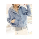 New Arrival BF Style Casual Loose Plain Two-Piece Long Sleeve Denim Jacket