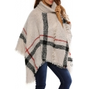 Fashion Color Block Tassel Hem Turtle Neck Winter's Warm Loose Cape Sweater