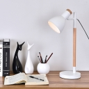 Industrial Desk Lamp with Metal Shade, Black/White/Red