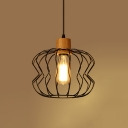 Industrial Pendant Light with Lantern Shape Shade, Black