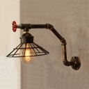 Industrial Wall Sconce Creative Pipe Style Retro Valve Decoration with Metal Cage Frame