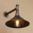 Industrial Vintage Wall Sconce with Metal Shade Retro Arc Loft Pipe Fixture Arm