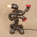Industrial Pipe Table Lamp with Robert Shape Lamp Base in Bronze, Open Bulb Style