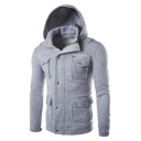Simple Plain Long Sleeve Multi Pockets Slim Warm Zip Up Hoodie