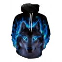 3D Fashion War Wolf Pattern Long Sleeve Casual Oversize Unisex Hoodie