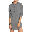 Simple Plain Long Sleeve Casual Sports Tunic Hoodie with Pockets