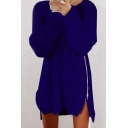 New Arrival Fashion Zip Up Side Simple Plain Long Sleeve Mini Sweater Dress