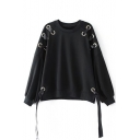 Round Neck Drop Shoulder Grommet Detail Tie Side Long Sleeve Sweatshirt