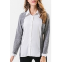Fashion Color Block Knit Patchwork Long Sleeve Lapel Collar Buttons Down Shirt