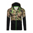 Fashion Color Block Camouflage Pattern Long Sleeve Zip Up Sports Hoodie