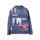 Fashion Landscape Patched Letter Printed Lapel Collar Denim Jacket